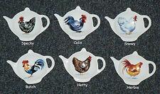 Cockrel Chicken rooster ceramic teabag tidy 6 different onesto choose