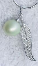 """Pearl Necklace Pistachio Green Akoya Pearl SS Feather & Mount/20"""" SS Chain NWOT"""