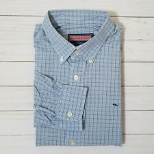 Vineyard Vines Blue Plaids & Checks Whale Shirt Long Sleeve Button Down Medium