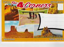 POSTCARD FOLDER-THE 4 CORNERS-UTAH-COLORADO-ARIZONA-NEW MEXICO