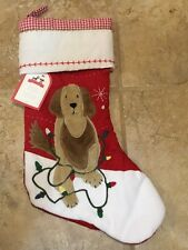 NEW Pottery Barn Kids Quilted Stocking Labradoodle RED