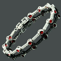 Brass Cubic Zirconia 18K White Gold Plated Red Ruby Round Cut Tennis Bracelet