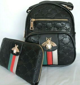 """Black """"Queen Bee"""" Back Pack and Wallet Set  Vegan Leather by American Bee"""