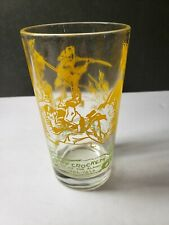 Vintage Davy Crockett Character Glass Peanut Butter Glass Yellow Green