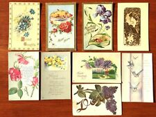 9 Antique Post Cards Greeting Card 1910s Floral Art Craft Paper Scrapbooking
