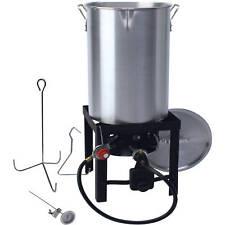 30 QT Turkey Fryer Deep Fryer Pot & Gas Stove Propane Burner Stand Stockpot NEW
