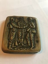 Vintage/Antique Metal Cigarrette Case Embossed with Soldiers