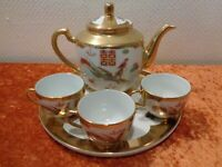 5 PC Set Ceramics Tea Pot + Cups + Serving Tray - China - Dragon + Bird