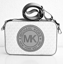 Michael Kors Shoulder Bag Fulton Sports LG Ew cross Body Grey White Leather New