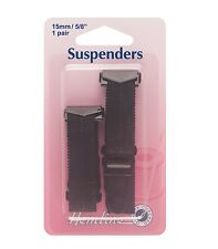 HEMLINE Haberdashery BLACK SUSPENDERS - (1 Pair) - 15mm - Hook Open Ends -H775.B