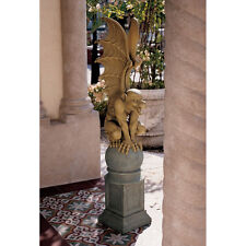 Medieval Fierce Gothic Gargoyle Guardian Spiny Wings Garden Statue on Plinth