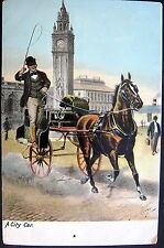 UK ~ ENGLAND~1900's LONDON ? HORSE TAXI RACING THRU THE CITY ! DRIVER WITH WHIP