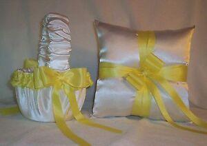 WHITE SATIN / YELLOW TRIM FLOWER GIRL BASKET & RING BEARER PILLOW #2
