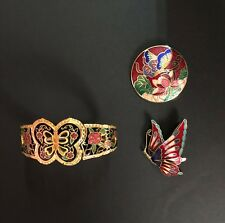 vintage enamelled bracelet and two brooches