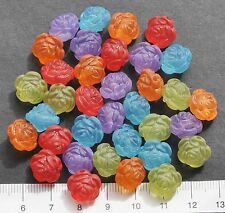 35 x mix of lucite/plastic beads 12 mm  21 gms  MULTI. ROUND ROSES Pack 44