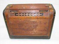 1948 PHILCO Tube Radio Model 48-360 Faux Alligator & Oak Case Parts or Restore