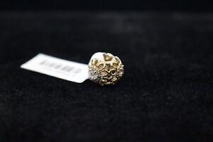 "Pandora 14k ""Floral Brilliance"" Gold Charm With CZ (750836CZ)"