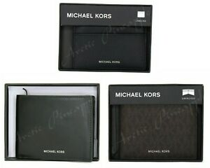 Michael Kors MK Mens Billfold Wallet Card Choose Black, Andy, Jet Set Leather