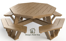 Easy DIY Octagon Picnic Table - Design Plans Instructions for Woodworking 06