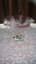 LARGE with a HINT of PINK CUT FROSTED GLASS FRUIT BOWL CUT WITH FLOWERS