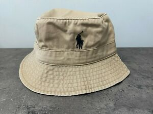 NEW POLO RALPH LAUREN L/XL Cotton Chino Pony Bucket Hat, Khaki, Tan