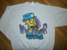 TWEETY BIRD SWEATSHIRT Hippie Rave Chick Wahtever Looney Tunes vtg 90s Adult XL