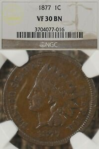 1877 1C NGC VF30 Indian Head Cent Penny, Key Date