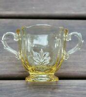 Vintage FOSTORIA Baroque Yellow Depression Glass Sugar Dish