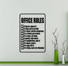 Office Rules Wall Decal Teamwork Gift Vinyl Sticker Decor Business Poster 59me