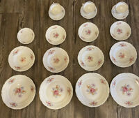 WAWEL China Floral Gold Trimmed Set Made In Poland - 4 Plates - 4 Bowls - Etc
