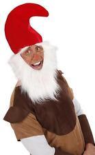 Red Gnome Hat With Beard & Eyebrows Dwarf Elf Santa Fancy Dress
