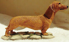 Dog Figurine DACHSHUND SMOOTH Standing on Base Red Resin UK 2003 BEAUTIFUL