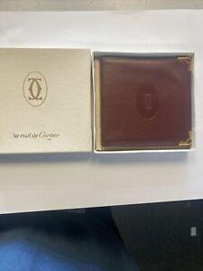 Auth Cartier Vintage Must Logos Leather Bifold Wallet Purse Bordeaux 17517bkac