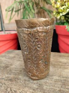 Antique Old Rare Hand Carved Copper Floral Engraved Lassi Glass Decorative Cup