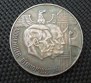 WW2 GERMAN COIN 1938 MUSSOLINI HITLER ROMA BERLIN