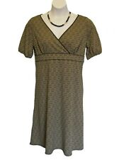 Knit Surplice LOFT Dress Size 14 XL Ann Taylor Brown Medallion Print Crossover