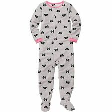 Girly Carters Fleece Footed pajama Blanket Sleeper Sz 7 Kids  Bow Grey NWT