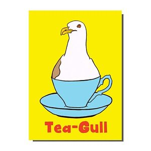 Seagull In A Tea Cup Tea Gull Beach Seaside Inspired Birthday / Greetings Card