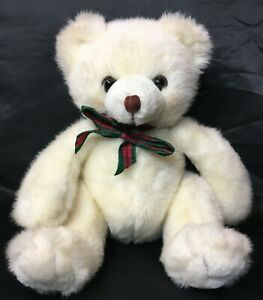 "RARE Russ Snowtop Teddy Bear Plush Rosey Cheeks Korean White Stuffed Animal 10"""