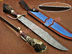 Unique Custom Handmade Dmascus Steel Bowie Knife With Stage Horn -Damascus Maker