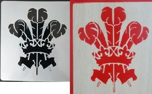 """Large Welsh Three Feather stencil reusable rugby reusable Wales Mylar 5.5"""" x 6"""""""