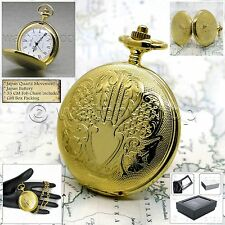 Mm with Fob Curb Chain Gift Box P120 Gold Pocket Watch Antique Men Brass Big 47