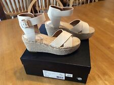 New $225 COACH Ivory LEATHER Espadrille Platform SANDALS Shoes size 7.5 or 7 1/2