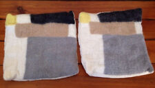 """Pair 2 West Elm Wool Yellow Gray Color Block Pillow Cover Copper Buttons 18""""x18"""""""
