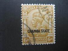 CHAMBA KGV 1937 6a BISTRE GOOD USED SG72
