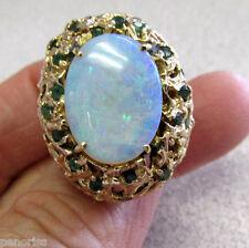 Beautiful Large Estate Opal & Emerald Ring 14k Gold size 8   Make Offer