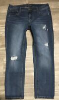 Maurices Women's Distressed Ankle Skinny Denim Jeans Size 14 Stretch EUC L1