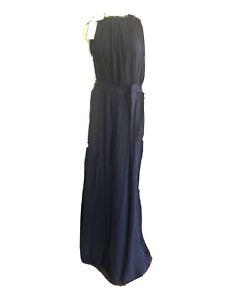 NEW With Tags J. Crew (S - small) Long Navy Silk Chiffon Dress