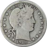 1914 D Barber Quarter AG About Good 90% Silver 25c US Type Coin Collectible