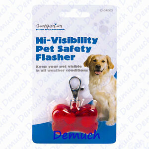 New Dog Cat HI VISIBILITY PET SAFETY LIGHT FLASHER Collar LED Flash Red Bone ✔